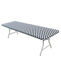 Kwik Covers 8' Rectangle Black/White Gingham Table Cover