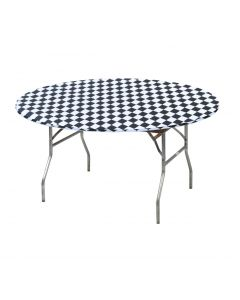 "Kwik Covers 48"" Round Black/White Gingham Table Cover"